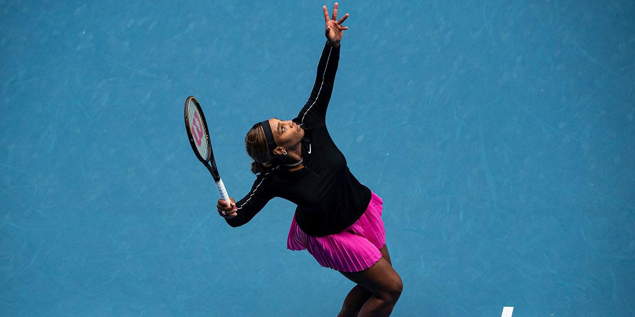Serena Williams serving 2021 Australia
