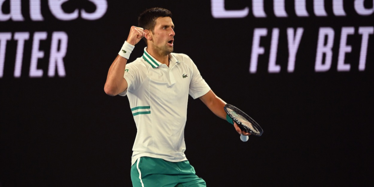 Novak Djokovic in the 2021 Australian Open final against Daniil Medvedev