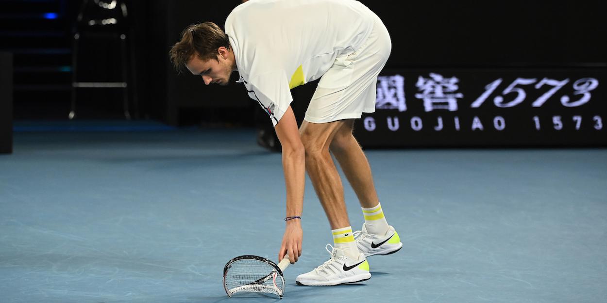 Danill Medvedev Australian open smashed racket 2021