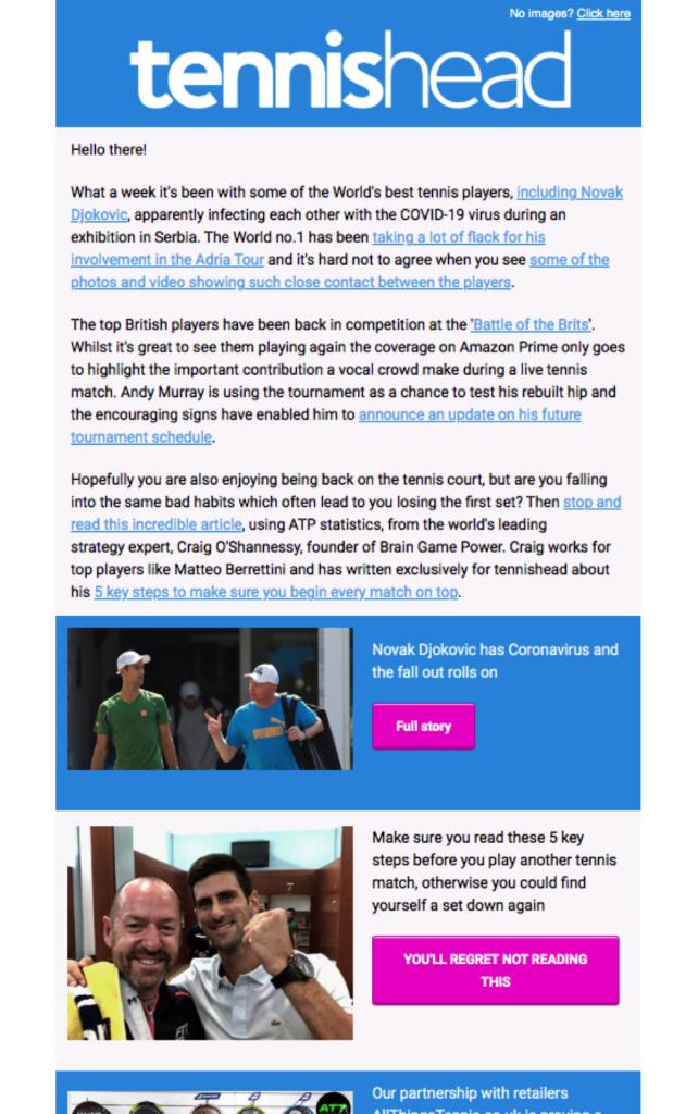 Tennishead Newsletter sample