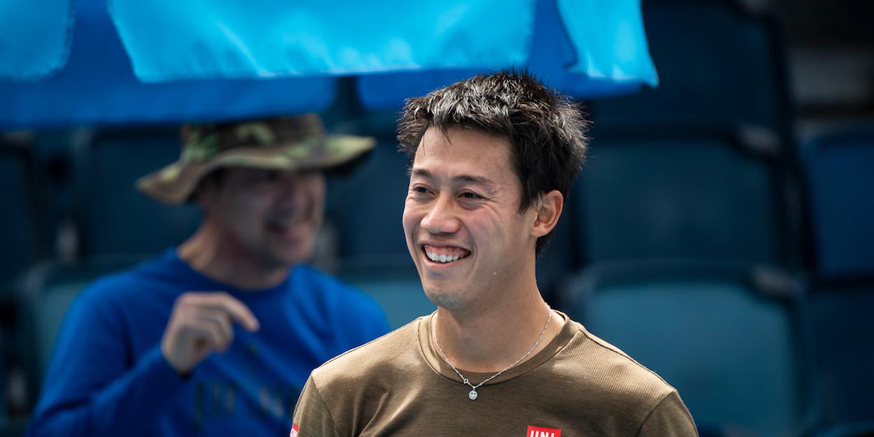 Kei Nishikori practices Australian Open 2021