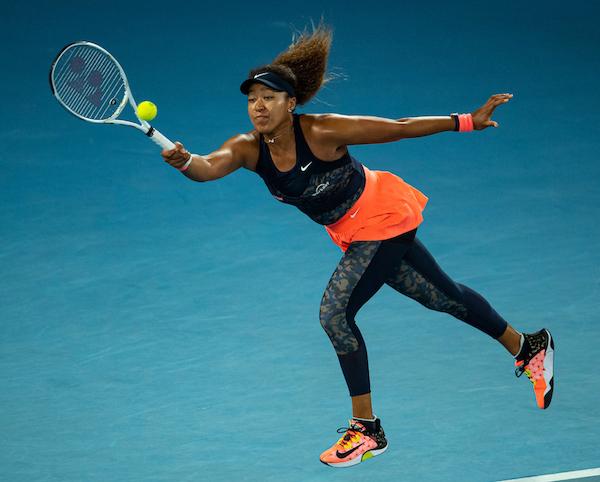 Naomi Osaka hits a forehand at 2021 Australian Open