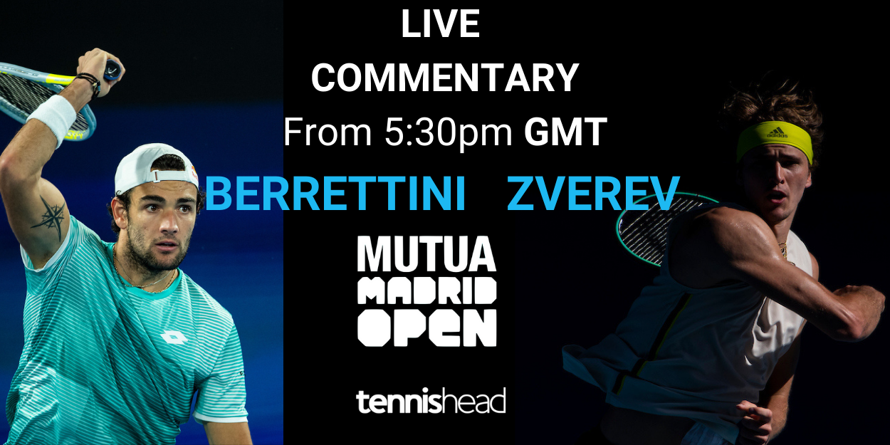 Live commentary Berrettini vs Zverev Madrid Open 2021 final