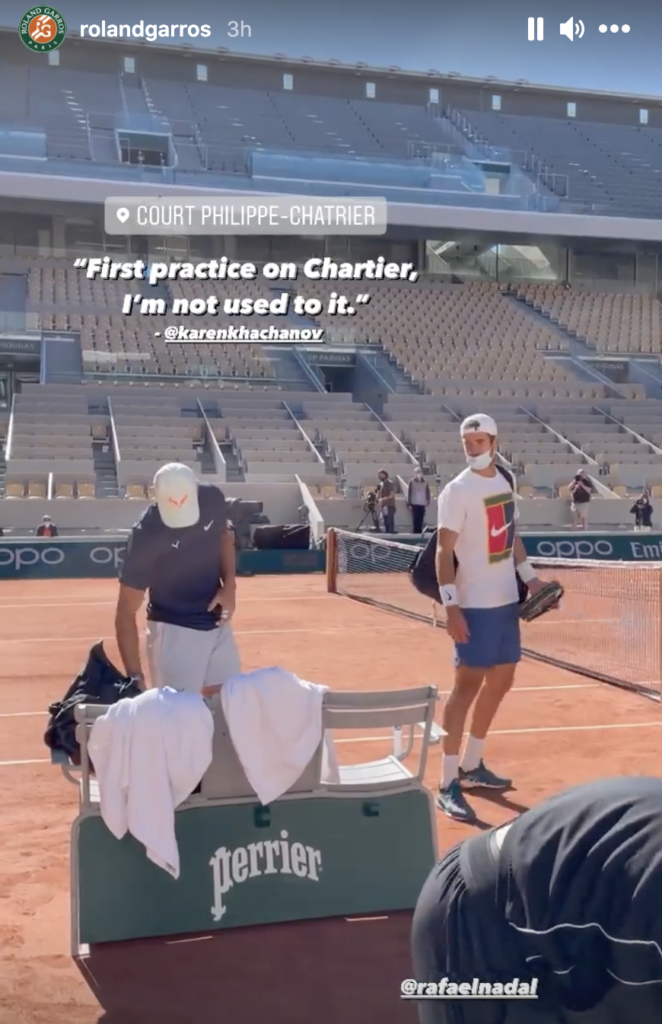 Nadal practice with Khachanov French Open 2021