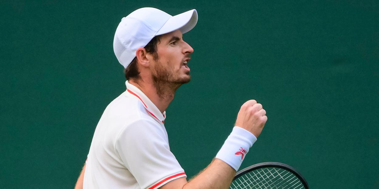 Andy Murray celebrates at Wimbledon Djokovic