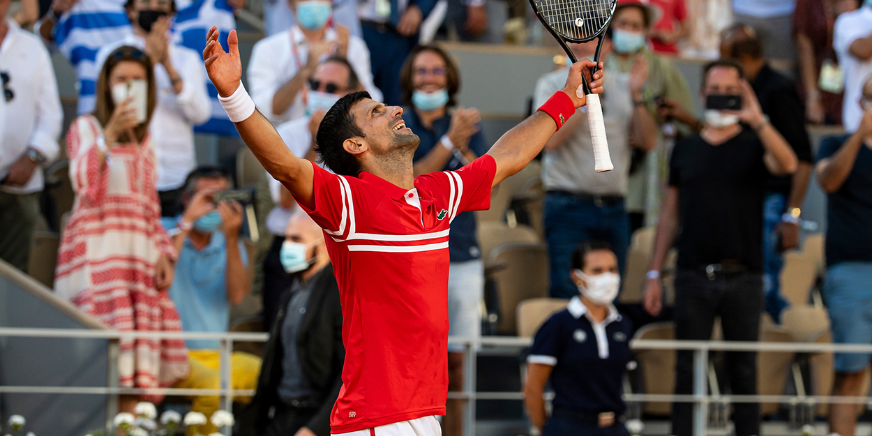Novak Djokovic celebrates French Open