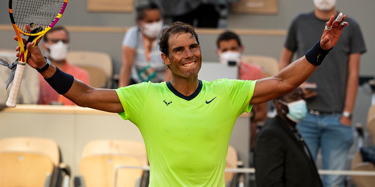 Rafael Nadal celebrates French Open
