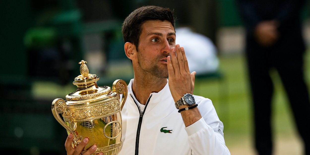 Novak Djokovic Wimbledon trophy 2019