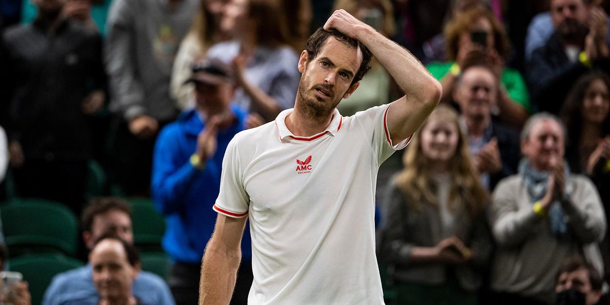 Andy Murray reacts at Wimbledon