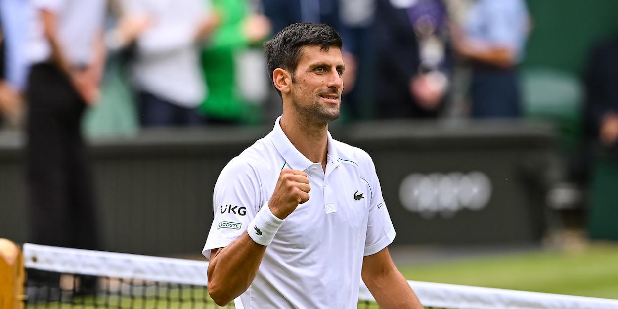 Novak Djokovic celebrates at Wimbledon 2021