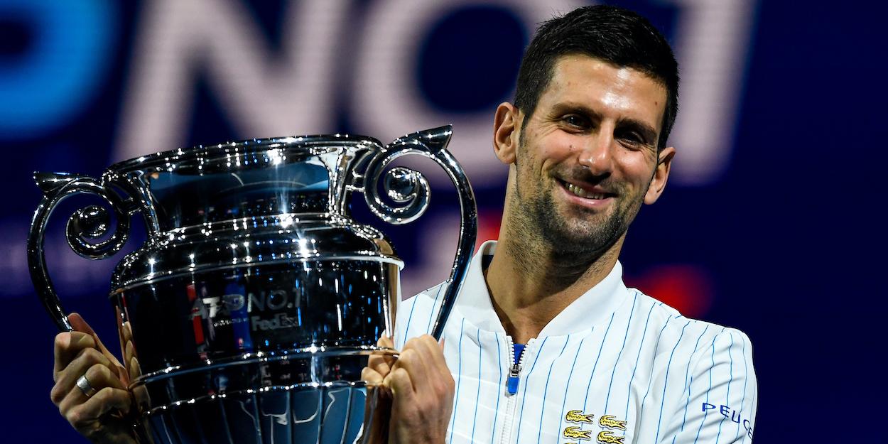 Novak Djokovic year-end No. 1 trophy ATP Finals 2020