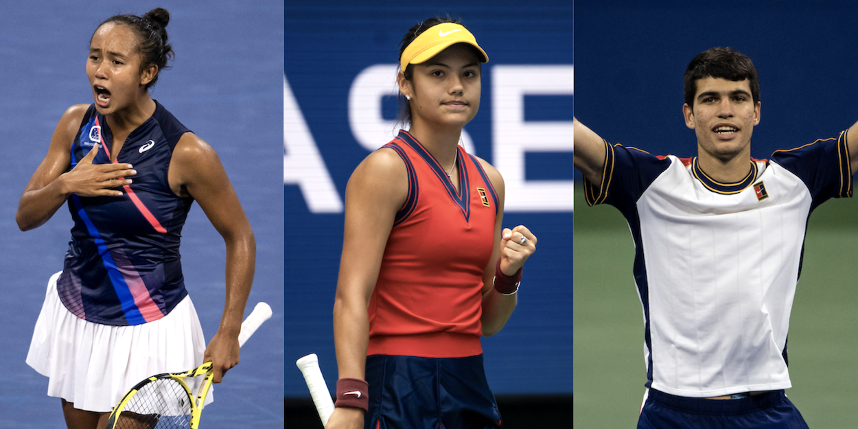 Raducanu-Fernandez-Alcaraz combo US Open 2021